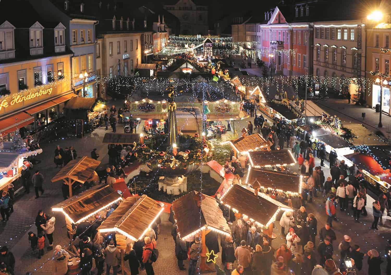 Abendstimmung Speyer,. Marktplatz, Weihnachtsmarkt