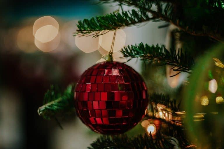 Rote Christbaumkugel an Weihnachtsbaum