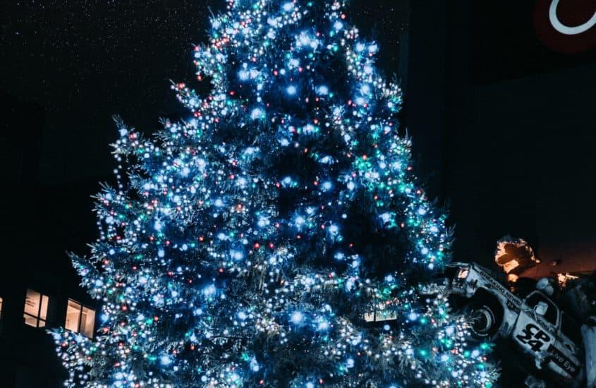 Weihnachtlich beleuchteter Christbaum